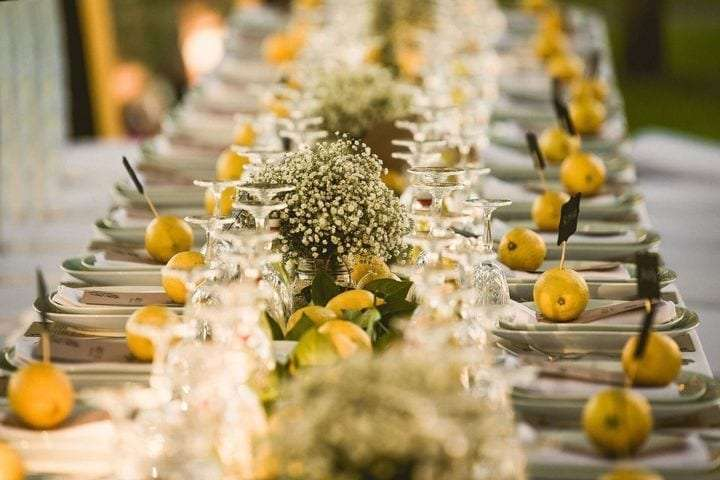 Mise en place for a wedding in the Amalfi Coast