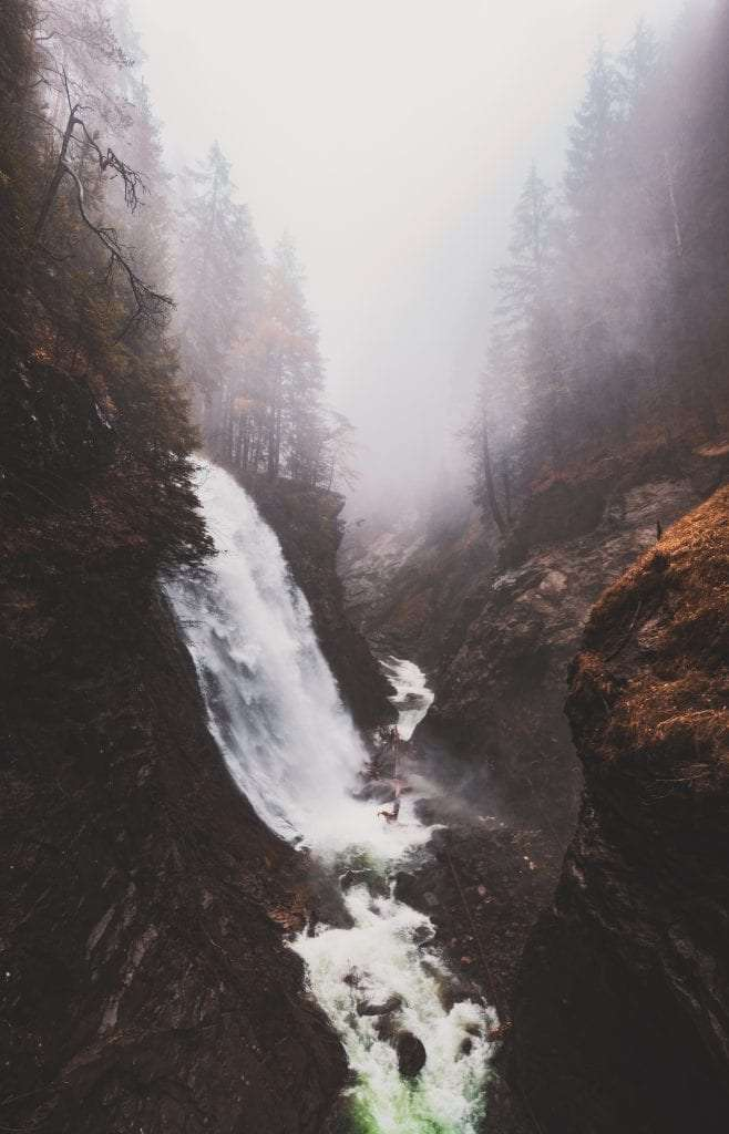 a waterfall in South Tyrol in autumn