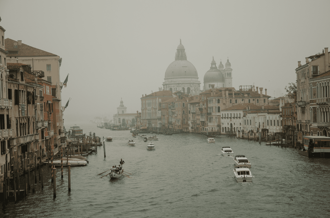 View of the Venice's Lagoon during a wedding of foreigners in Italy
