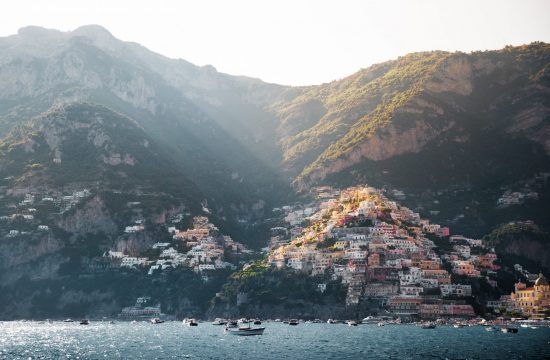 View of the Amalfi Coast from the sea.