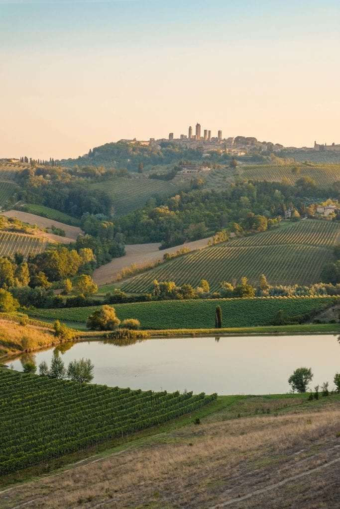 Tuscan hills during the sunset