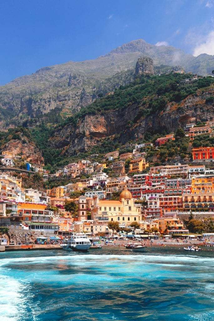 View of Positano's beach from the sea.