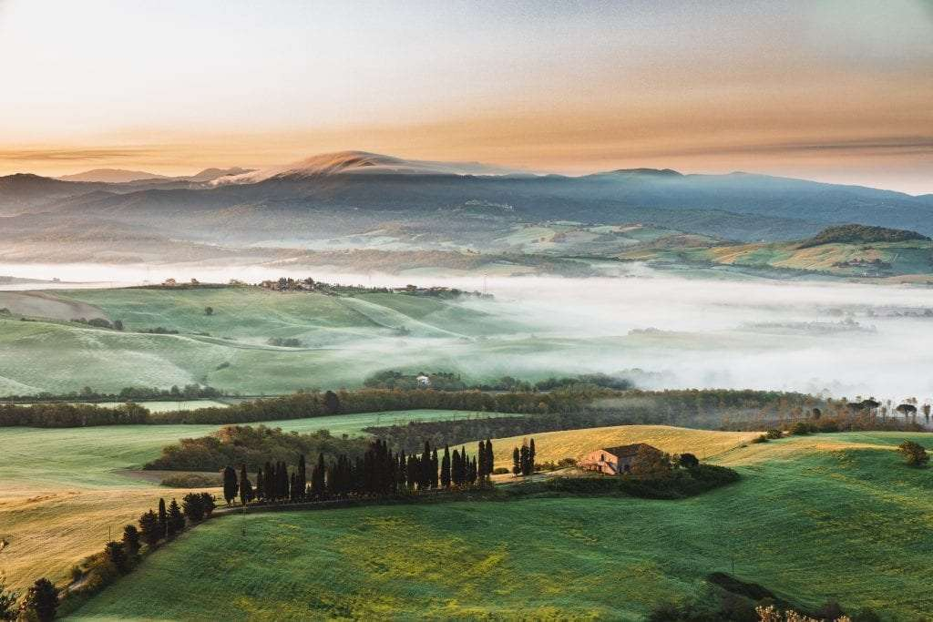 Tuscan countryside with fog