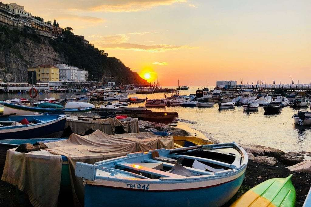 Harbour in Sorrento during the sunset.