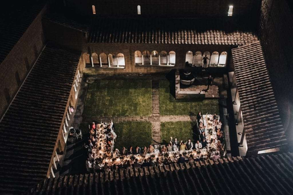 View from the drone of the wedding reception in San Giusto Abbey.