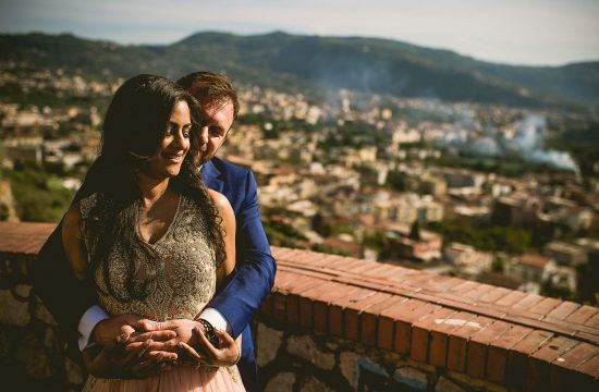 A couple hugging each other during their wedding in Amalfi