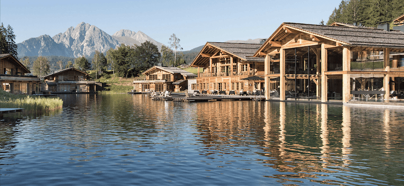 Elegant retreat on the dolomites in south tyrol with artificial lake