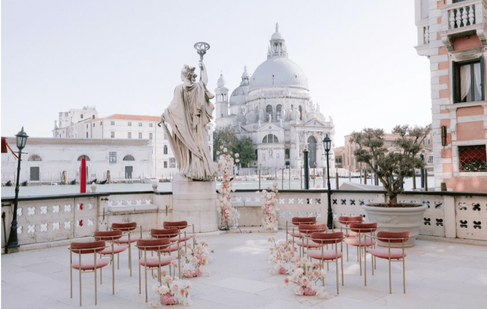 wedding symbolic ceremony in Venice in front of Basilica San Marco.