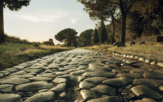 View of the Appia Antica route in Rome.