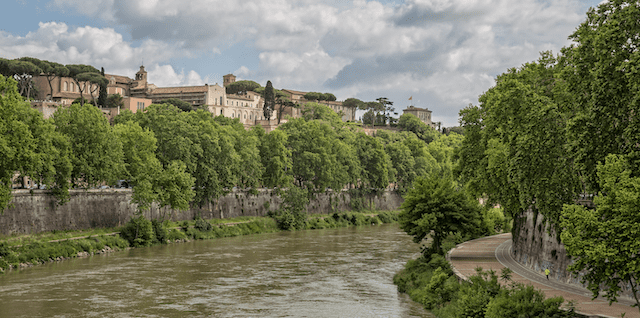 View of the Colle Aventino from the banks of the river Tevere.