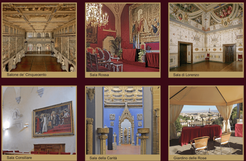 Rooms available for a civil wedding in the Municipality of Florence for foreigner citizens.